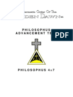 GOLDEN DAWN 4=7 Philosophus Advancement Test