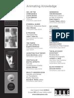 Duke University Press Program Ad for the Society for Cinema and Media Studies 2014