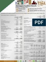 TSL Audited Results for FY Ended 31 Oct 13