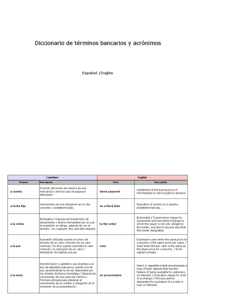 Diccionario Bancario Caste Llano Ingles
