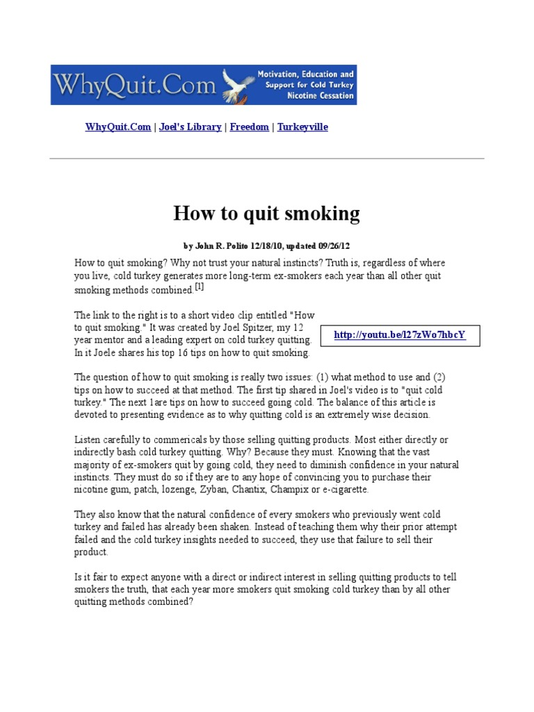 Why Quitting Smoking Cold Turkey Is So Hard... and 8 Tips for Success