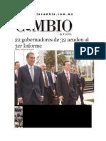 16-01-2014 Diario Matutino Cambio de Puebla - 22 Gobernadores de 32 Acuden Al 3er Informe