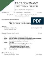 Worship Bulletin February 2, 2014
