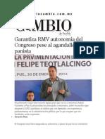 31-01-2014 Diario Matutino Cambio de Puebla - Garantiza RMV autonomía del Congreso pese al agandalle panista