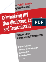 Public Health Implications of Criminalizing HIV Non-Disclosure, Exposure and Transmission (January 2014)