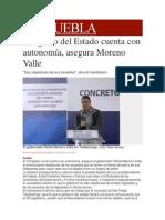 31-01-2014 Milenio.com - Congreso del Estado cuenta con autonomía, asegura Moreno Valle