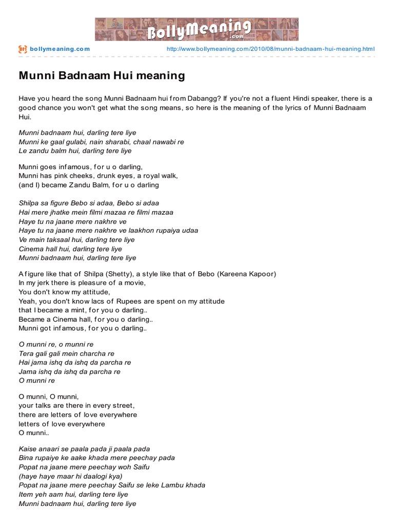 Bollymeaning.com-Munni Badnaam Hui Meaning | Hindi Language Media |  Bollywood