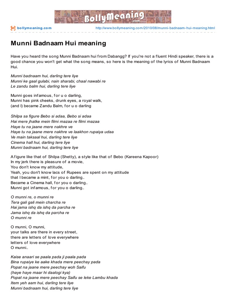 Bollymeaning com-Munni Badnaam Hui Meaning   Mídia em Hindi