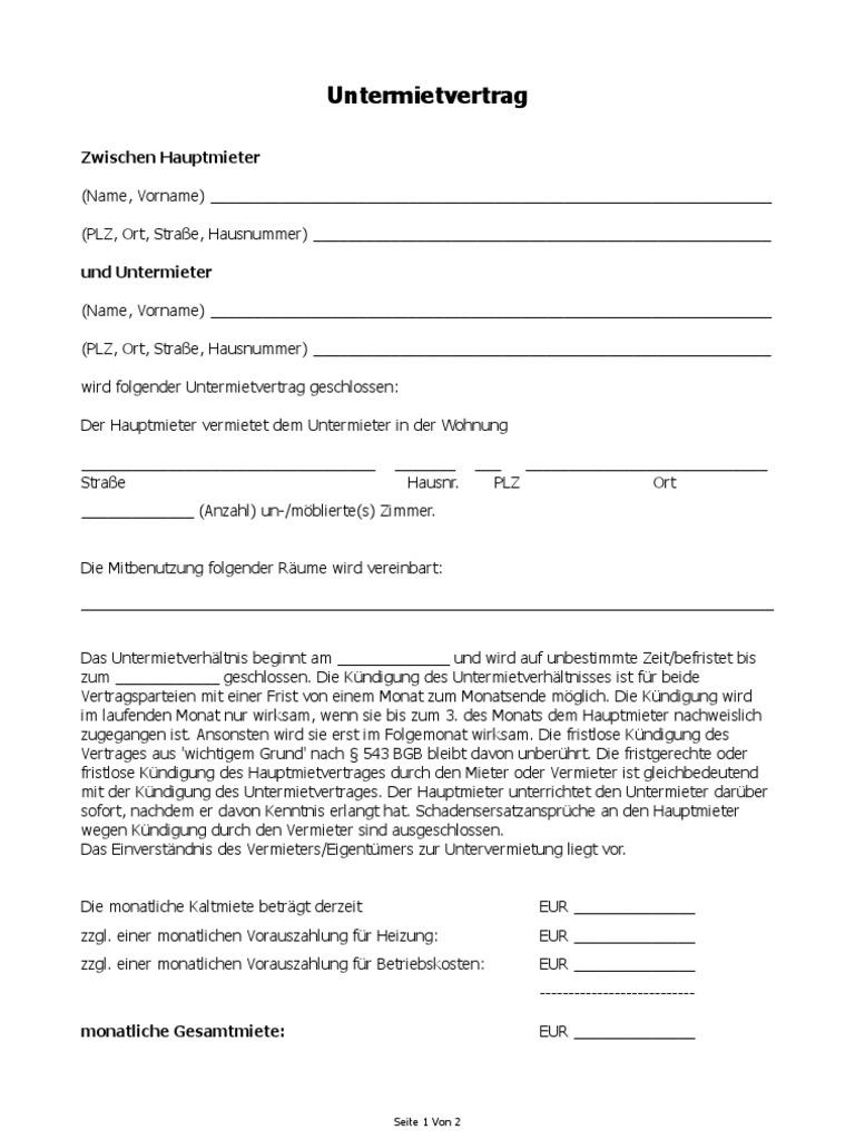 Untermietvertragneu Untermietvertrag Vorlage Download Kostenlos