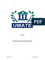 UMATE 2012 Sample UMAT Questions