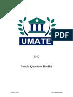UMATE 2012 Sample UMAT Questions