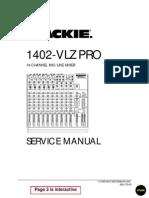 Mackie 1402-VLZ Pro Service Manual