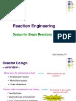 Week 7. Design for Single Reaction