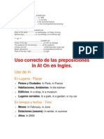 Uso Correcto de Las Preposiciones-In at on en Ingles