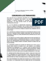 Comunicado a los Trabajadores sobre firma en contra de Ley de Radiodifusion