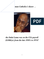 Do Roman Catholics Know Dali Lama on CIA Payroll?