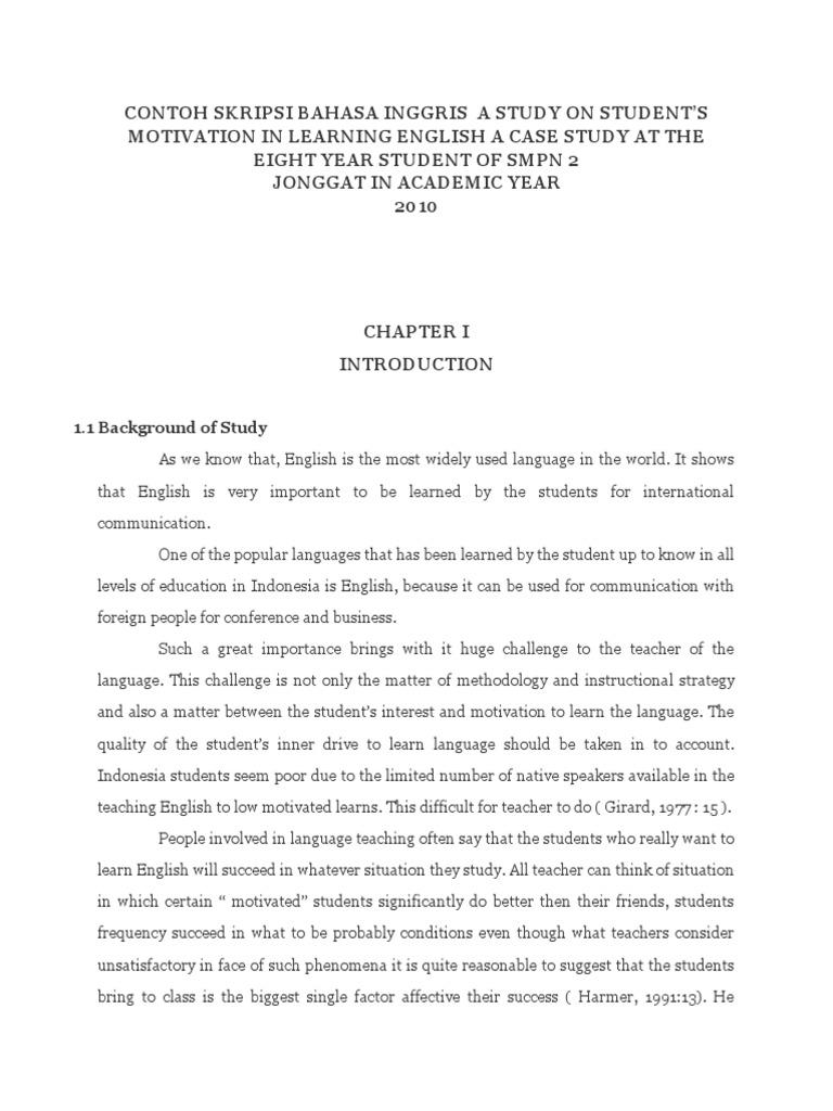 Contoh Skripsi Bahasa Inggris Case Study Attitude Psychology Motivation