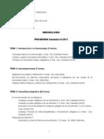 PROGRAMA Y CRONOGRAMA  INMUNOLOGÍA PARA BIOLOGOS 2013