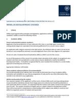 Admissions Criteria - MPhil DevStud 2014