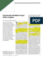 Genetically Modifi Ed Crops Policy Logjam