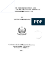 Cultural Communication and Protection of Value System Throgh Television in Pakistan