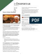 El Vaticano Aboga Por El Establecimiento de Un Gobierno Mundial y Un Nuevo Orden Mundial