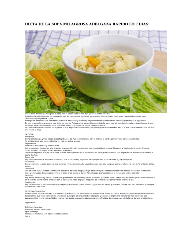 Dieta De La Sopa Milagrosa Adelgaza Rapido En 7 Dias Sopa Vegetales