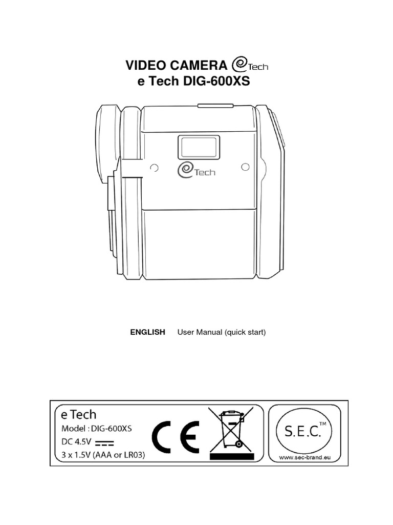 z Camcorder eTech DIG 600XS Quick and Detailed User Guide