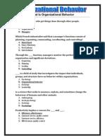 Organizational Behavior - Final Exam