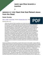 Crea en su corazón que Dios levantó a Jesús de los muertos