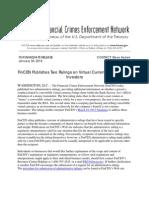 FinCEN Bitcoin Jan Press Release