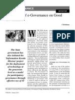 Impact of e Governence on Good Governance Yojana January 2013