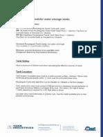 Rectangular Water Storage Tank Information Sheet