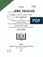 Fénelon - Lettre à l'Académie