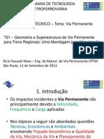 GEOMETRIA E SUPERESTRUTURA DE VIA PERMANENTE PARA TRENS REGIONAIS_UMA ABORDAGEM PARA MANUTENÇÃO - 19a Semana de Tecnologia