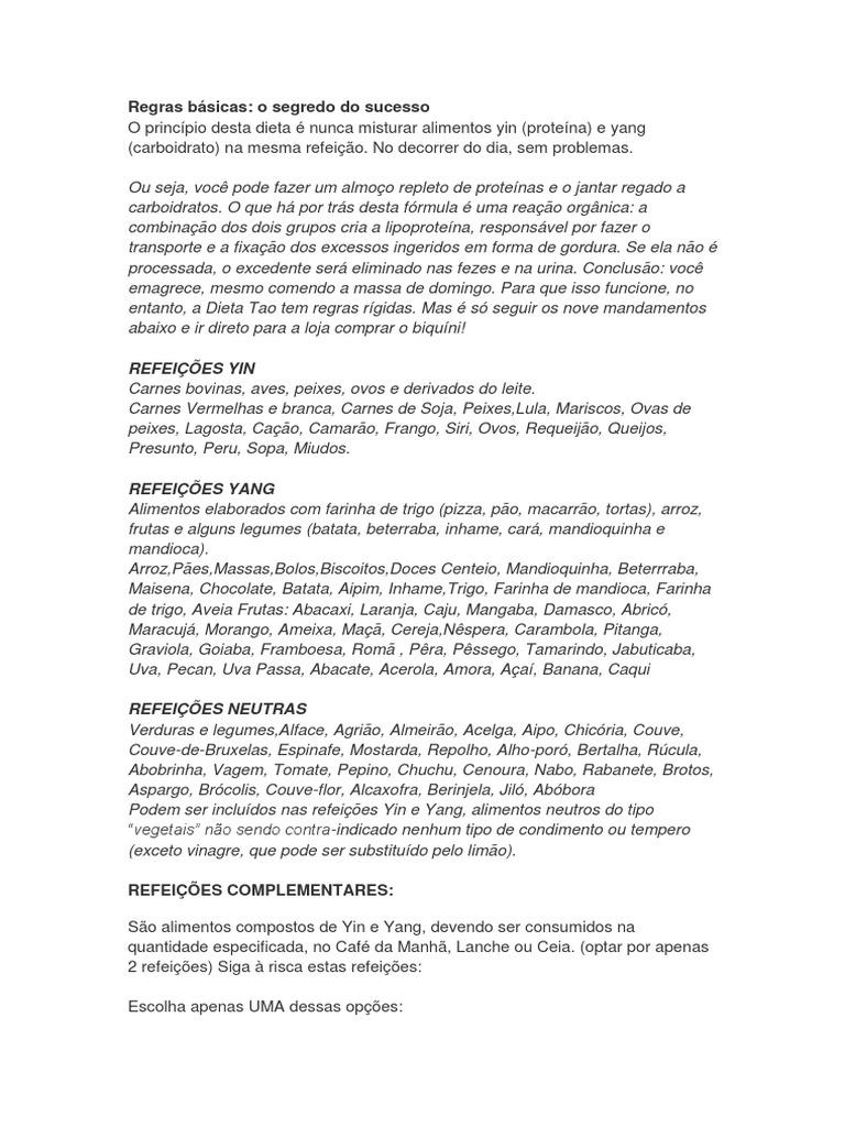Dieta Regim Alimentar Disociat Yin-Yang