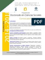 Convocatoria Doctorado Ciencias Sociales 2014 2018