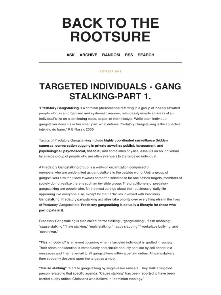 Strahlenfolter Stalking - TI - Targeted Individuals - Gang Stalking
