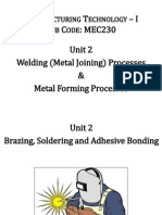 2 Unit 2- Brazing, Soldering and Adhesive Bonding