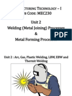 3 Unit 2- Arc, Gas, Plastic Welding, LBW, EBW and Thermit Welding