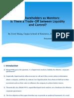 Large Shareholders as Monitors (Presentation)