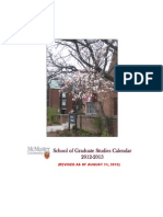 School of Graduate Studies Calendar 2012-2013 (Revised as of Augu