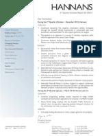 Hannans Quarterly Report 2014   Q2