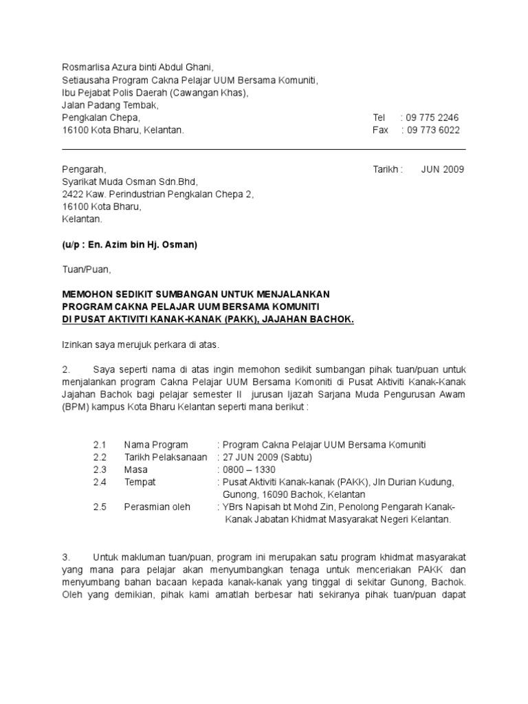 Cth Surat Memohon Sponsor