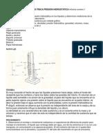 LABORATORIO DE FÍSICA PRESIÓN HIDROSTÁTICA Informe numero 1