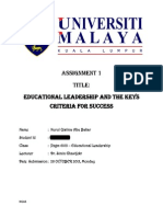 Educational Leadership and the Keys Criteria for Success