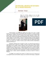 LA CONSTRUCCIÓN DEL OBJETO DE ESTUDIO DE LA INVESTIGACIÓN. ESTHER DÍAZ