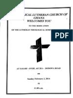 ELCG Seminary Dedication Feb 2, 2014
