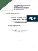 Genetica Medicala, F II, Sem I, 2009-2010