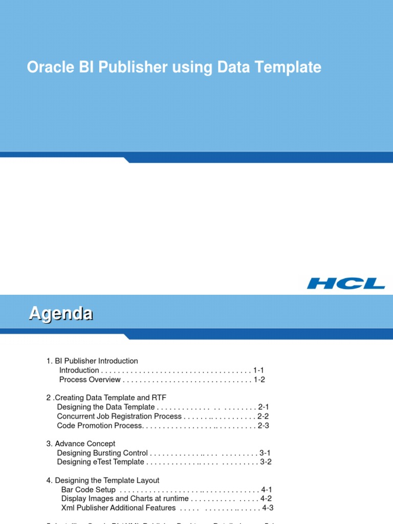 BIP 1- Oracle BI Publisher Using Data Template Training Doc | Data ...